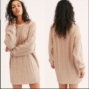 Free People Good as Gold Cable Knit Sweater Dress